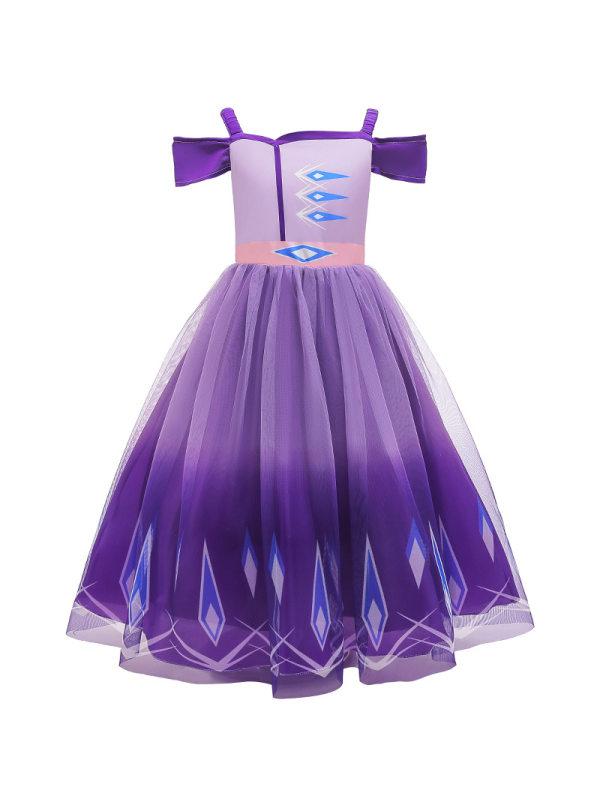【3Y-9Y】Girls Short Sleeve Off Shoulder Princess Dress