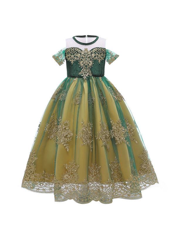 【3Y-9Y】Girls Sweet Mesh Princess Gown Dress