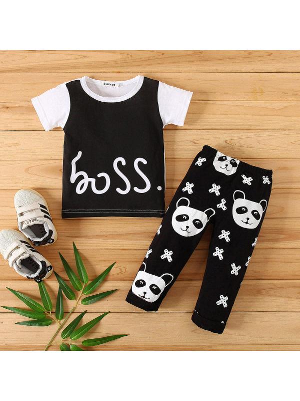 【3M-24M】Boy Letters Top And Panda Print Pants Suit