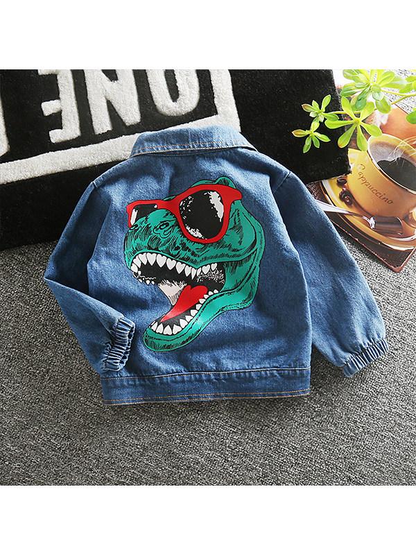 【12M-4Y】Boys Cartoon Print Denim Jacket