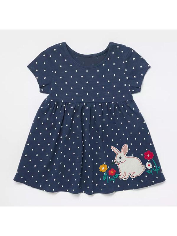 【18M-9Y】Girls Round Neck Short Sleeve Polka Dot Dress