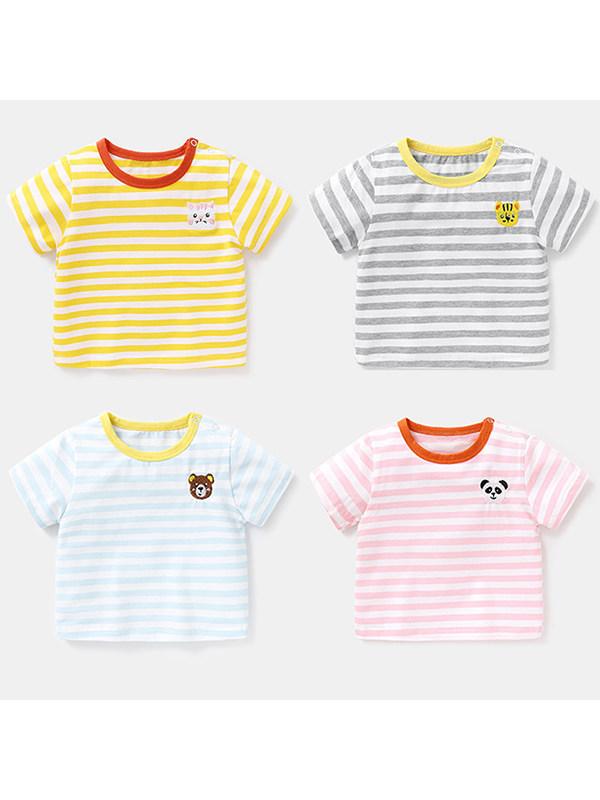 【6M-4Y】Boys Round Neck Short Sleeve Striped Cartoon Print T-Shirt