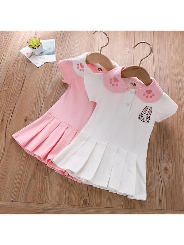 【18M-7Y】Girls Short-sleeved Doll Collar Cartoon Print Dress