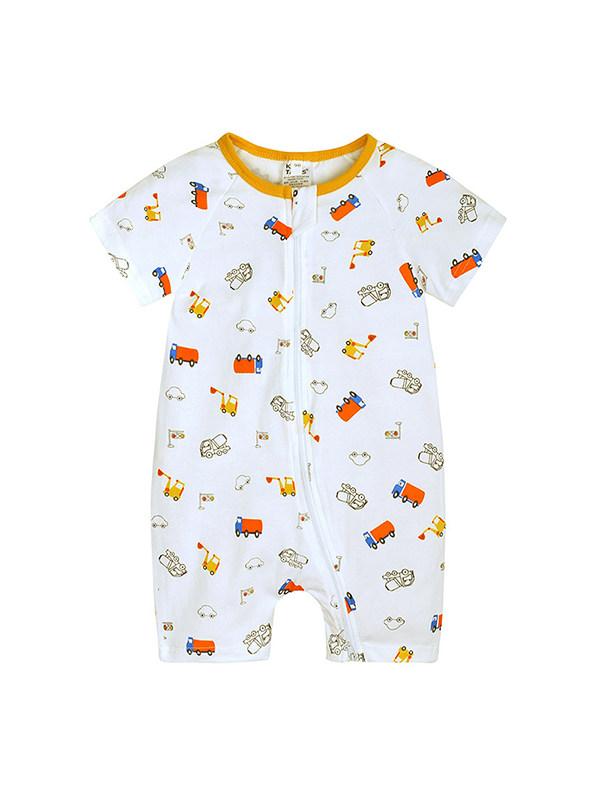 【3M-3Y】Baby Boy Round Neck Short Sleeve Cartoon Print Flat Jumpsuit