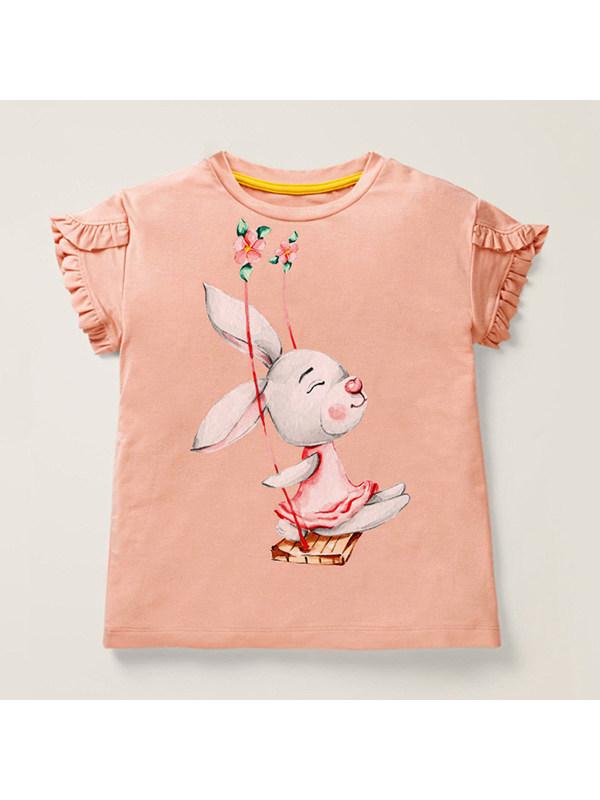 【18M-9Y】Girls Round Neck Short Sleeve Cartoon Print T-Shirt Top