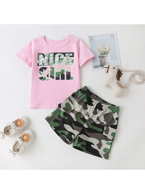 【18M-7Y】Girls Letter Print Short-sleeved Blouse Camouflage Shorts Suit