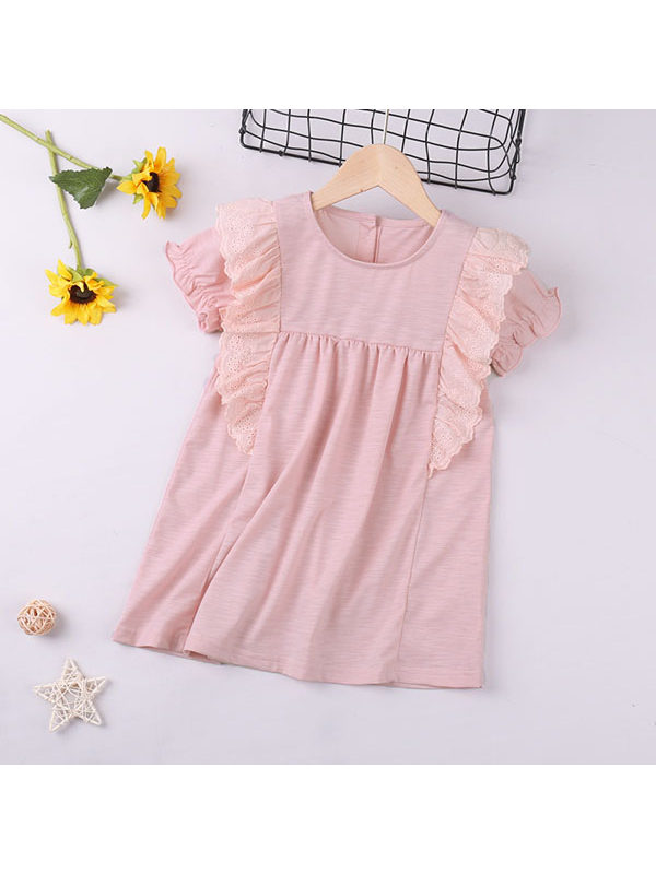 【18M-7Y】Girls Solid Color Lace Dress