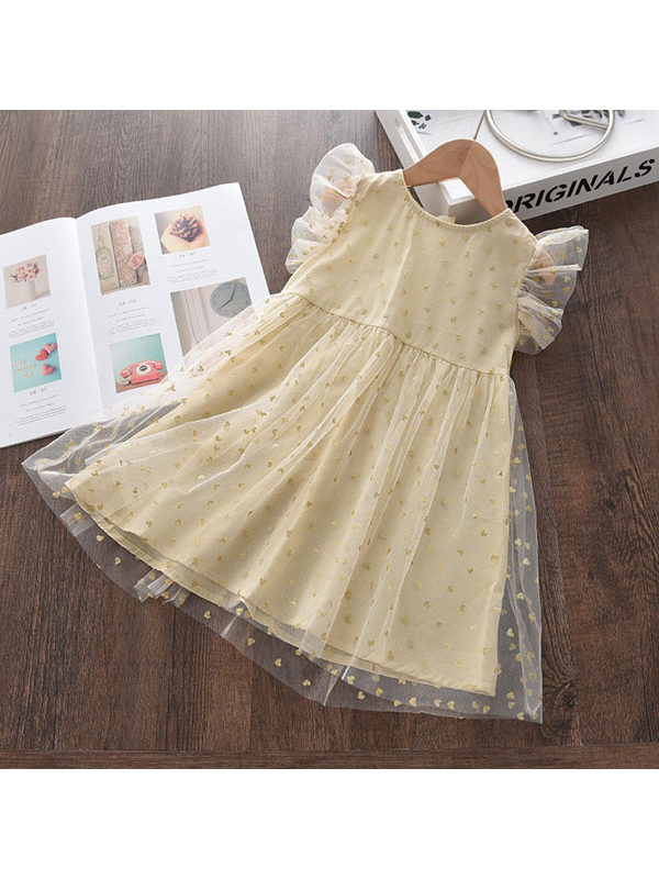 【12M-7Y】Girls Sweet Bronzing Sleeveless Mesh Dress