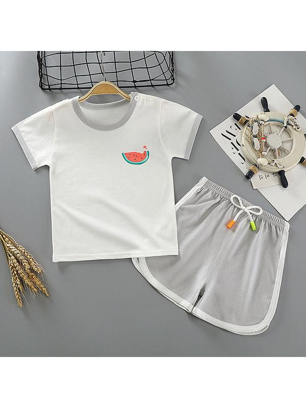 【6M-5Y】Boys Round Neck Short Sleeve Cartoon Print Suit