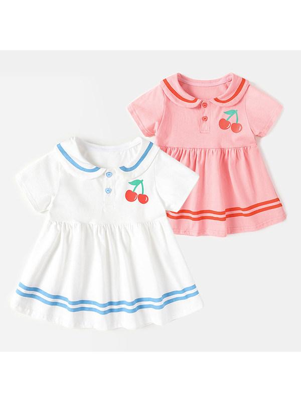 【12M-5Y】Girls Lapel Short Sleeve Fruit Print Dress