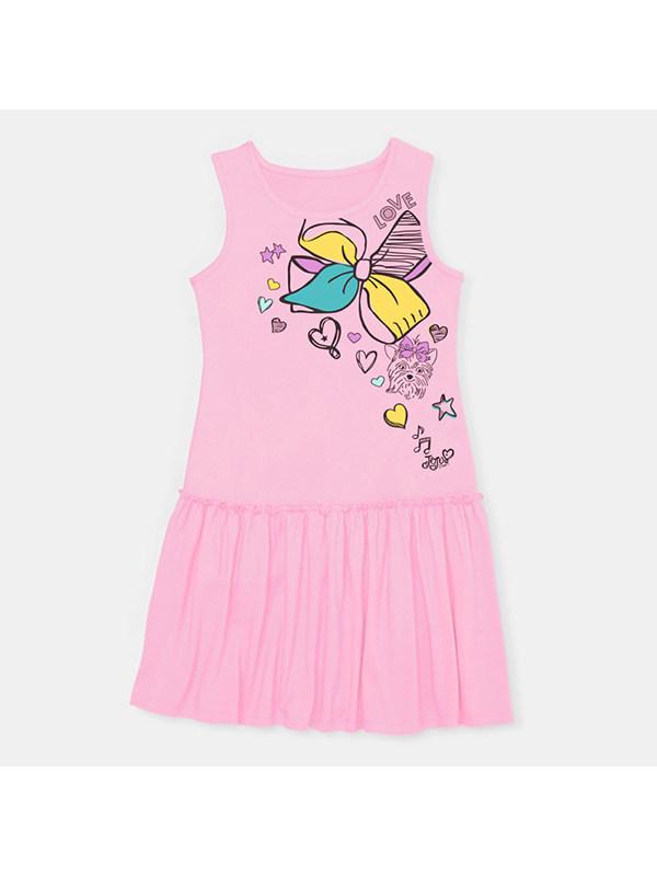 【18M-9Y】Girls' Round Neck Sleeveless Cartoon Print Dress