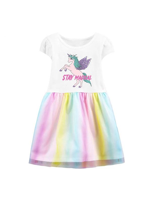 【18M-9Y】Girls Round Neck Short Sleeve Cartoon Print Dress