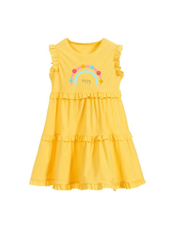 【18M-9Y】Girls' Round Neck Sleeveless Letter Print Vest Dress