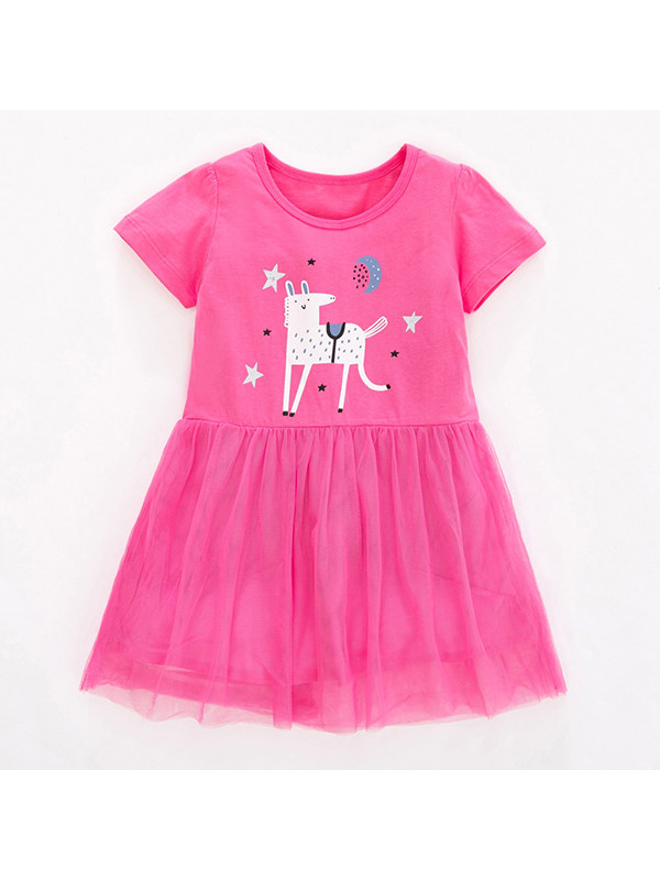 【18M-9Y】Girls' Round Neck Short Sleeve Cartoon Printed Mesh Dress