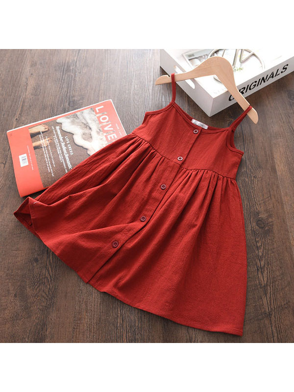 【2Y-9Y】Girls Sling Solid Color Button Dress
