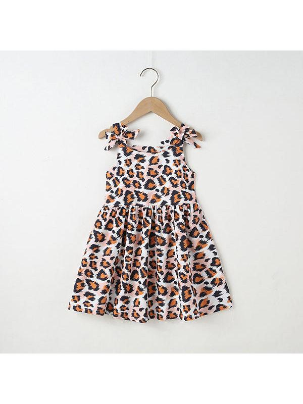 【18M-7Y】Girls Strap Leopard Print Dress