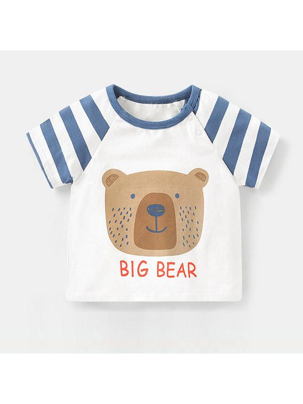 【6M-4Y】 Boys Round Neck Short Sleeve Cartoon Print T-shirt