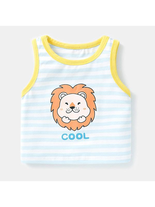 【6M-4Y】Girls Crew Neck Sleeveless Striped Cartoon Print Tank Top T-shirt