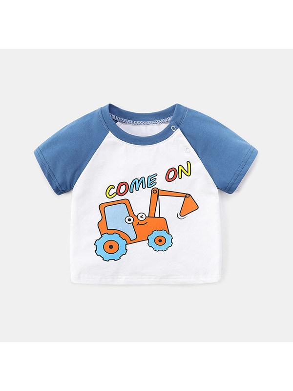【6M-4Y】Boys Round Neck Short Sleeve Cartoon Print T-shirt