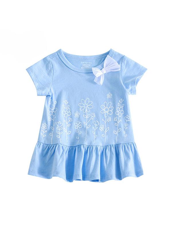 【0M-3Y】Baby Girl Round Neck Short Sleeve Dress
