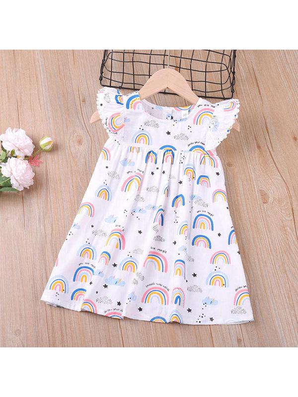 【18M-7Y】Girls Rainbow Flying Sleeve Dress