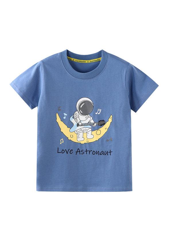 【18M-9Y】Boys Cartoon Starry Sky Print Short Sleeve T-shirt