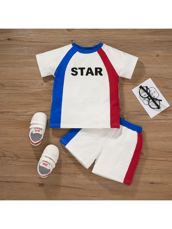 【18M-7Y】Boys Letter Print Color Stitching Sports Short Sleeve Shorts Two-piece Suit
