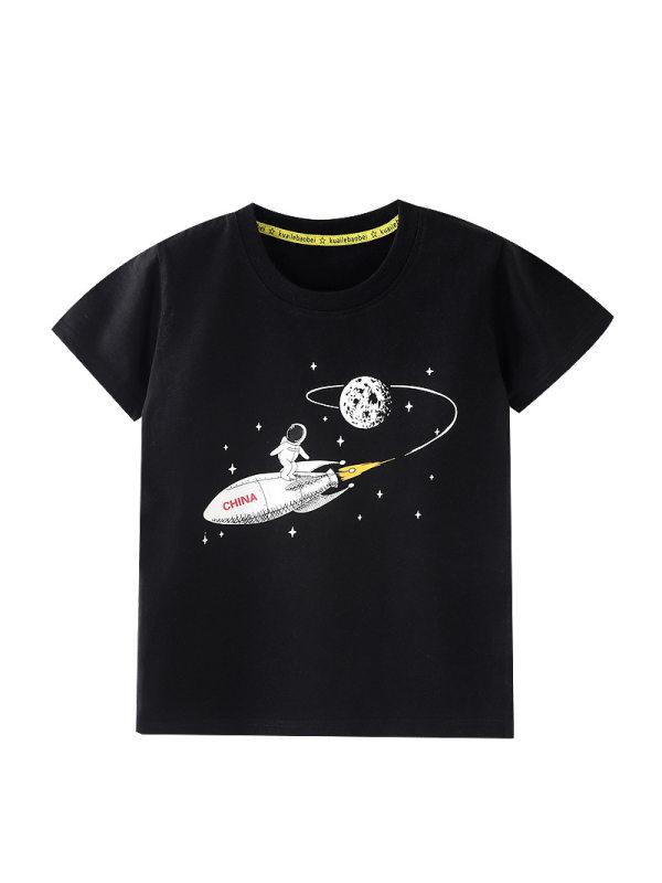 【18M-9Y】Boys Starry Sky Print Short Sleeve T-shirt