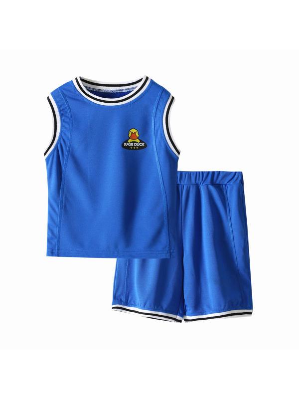 【2Y-11Y】Boys' Color Contrast Stitching Cartoon Print Breathable Sports Vest Shorts Two-piece Suit