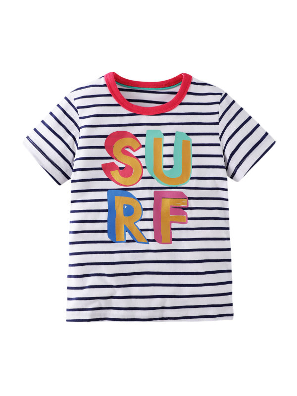 【12M-11Y】Boys Striped Printed Letters Short Sleeve T-shirt