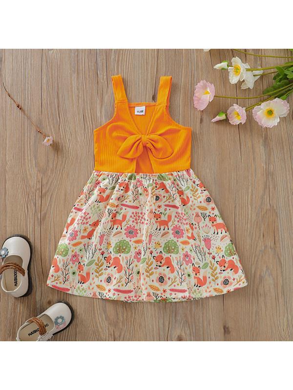 【18M-7Y】Girls Bow Knot Cartoon Print Sling Dress