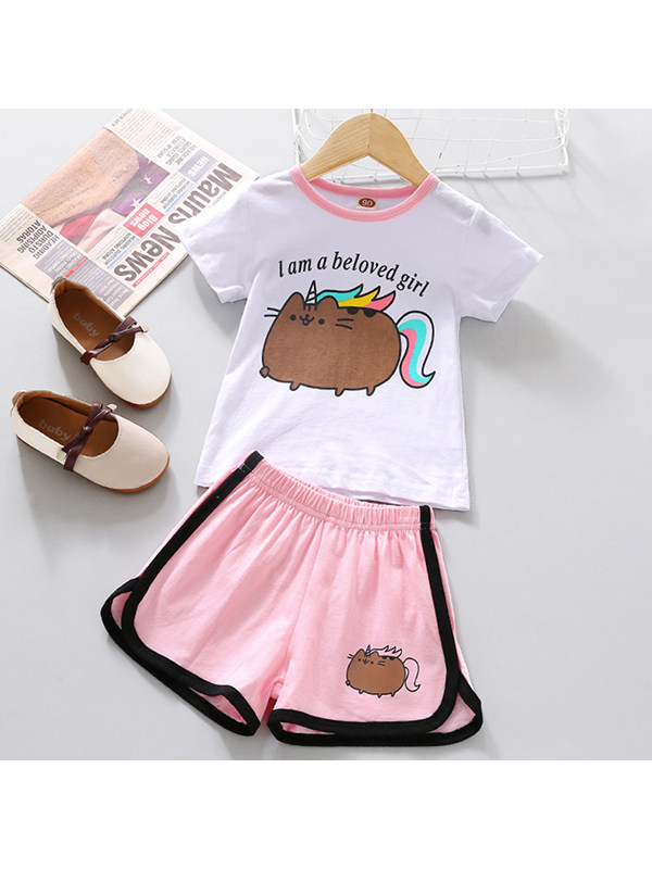 【18M-9Y】Girls Round Neck Short Sleeve Cartoon Printed T-shirt With Shorts Two-piece Suit