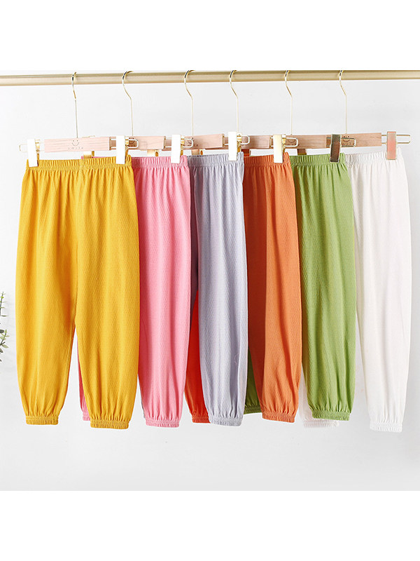 【2Y-13Y】Girls' Solid Color Mesh Casual Lantern Trousers