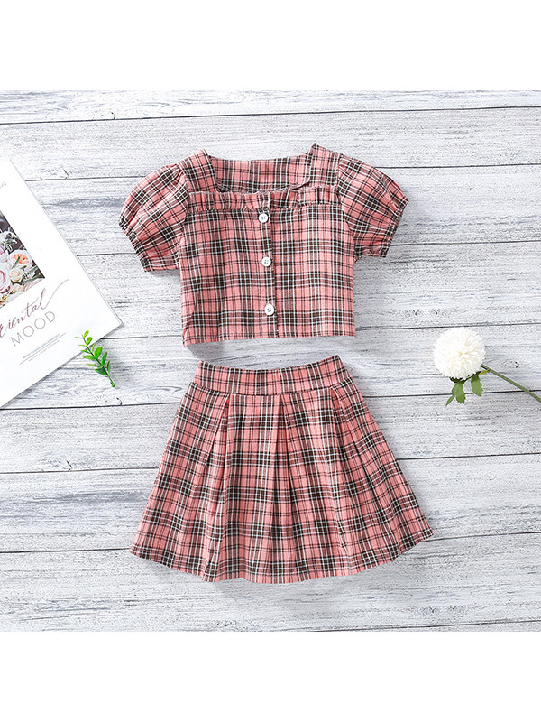 【18M-7Y】Girls Square Neck Puff Sleeve Single-breasted Top with Plaid Short Skirt Two-piece Suit