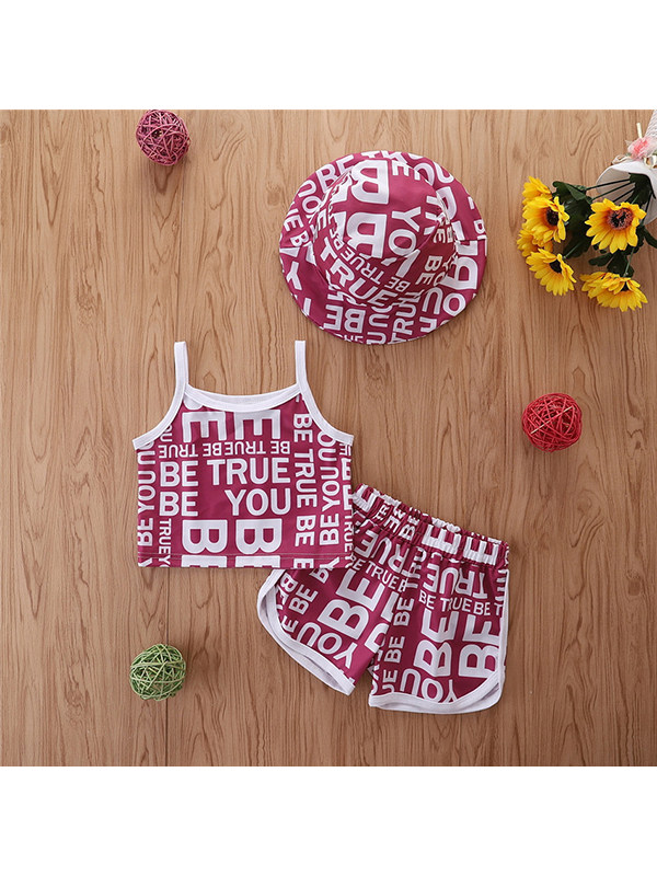 【12M-5Y】Girls Casual Letters Full Print Small Sling With Shorts Hat Suit