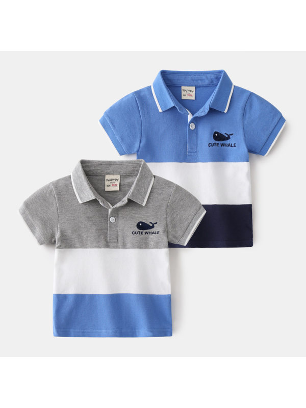 【18M-7Y】Boys' Contrast Stitching Short-sleeved Polo Shirt
