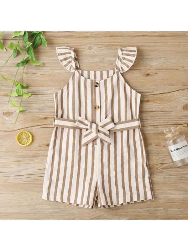 【18M-7Y】Girls Striped Loose Suspenders Jumpsuit