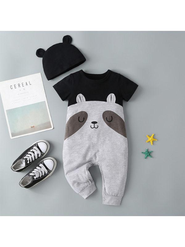 【3M-3Y】Baby Panda Print Short Sleeve Romper