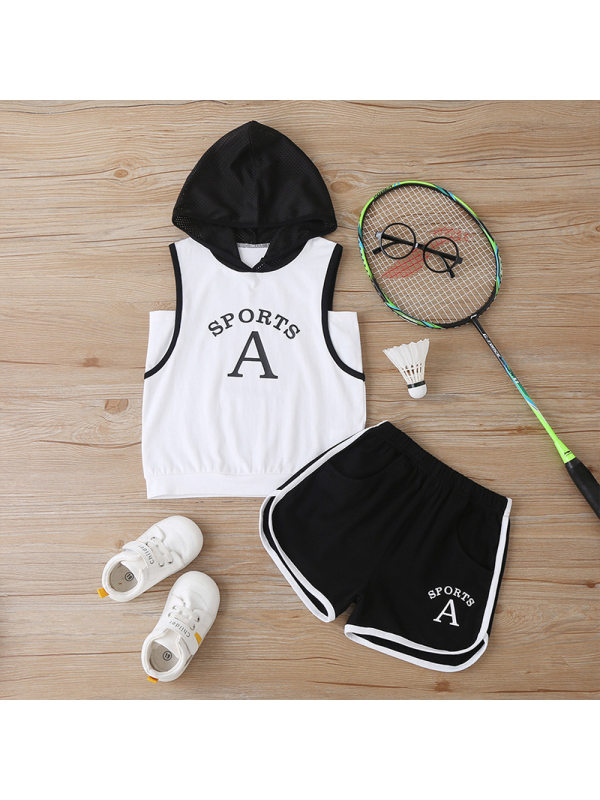【18M-7Y】Boys Hooded Letter Print Tank Top Shorts Sports Two-Piece Set