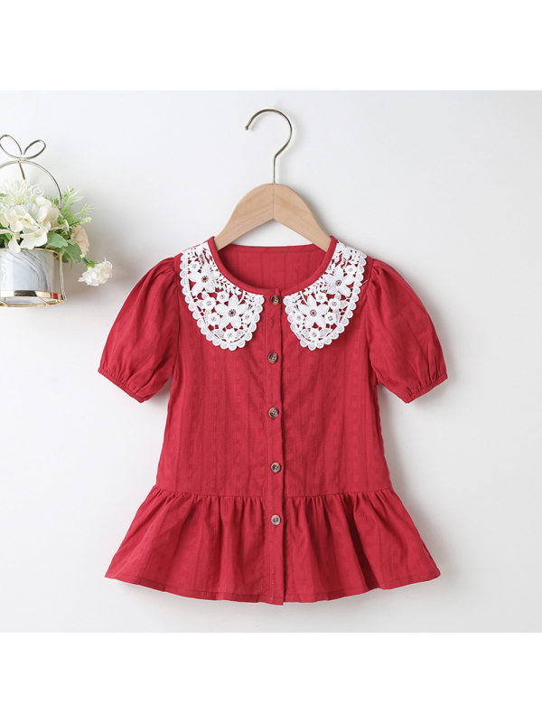 【18M-7Y】Girls Lace-decorated Short Sleeve Dress