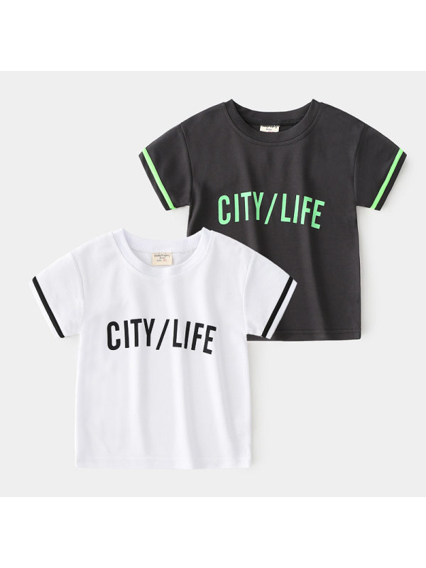 【18M-7Y】Boys Breathable Printed Letters Short Sleeve T-shirt