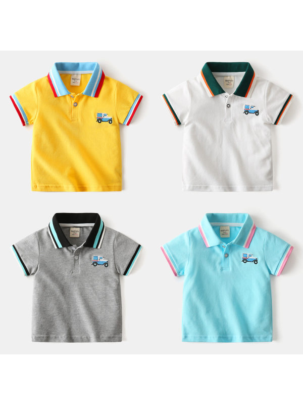 【18M-7Y】Boys' Car Embroidered Contrast Stitching Polo Shirt