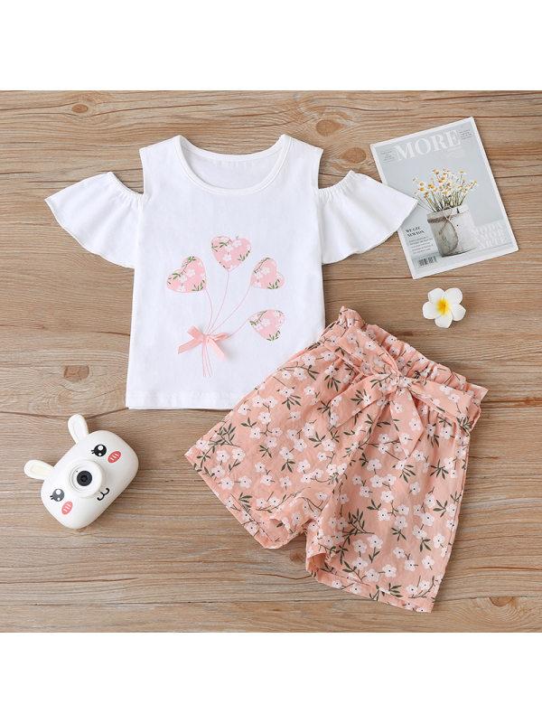 【18M-7Y】Girls Print T-blouse Shorts Two-piece Suit
