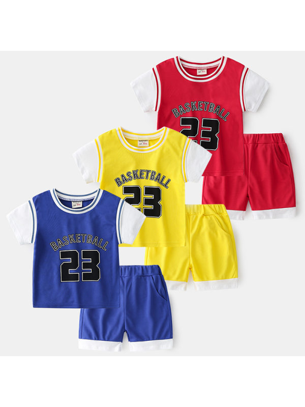 【18M-9Y】Boys' Contrast Color Stitching Printed Letters Short-sleeved Shorts Breathable Sports Two-piece Suit