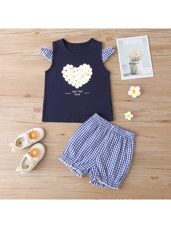 【18M-7Y】Girls Love Printed Tank Top Check Shorts Two-Piece Set