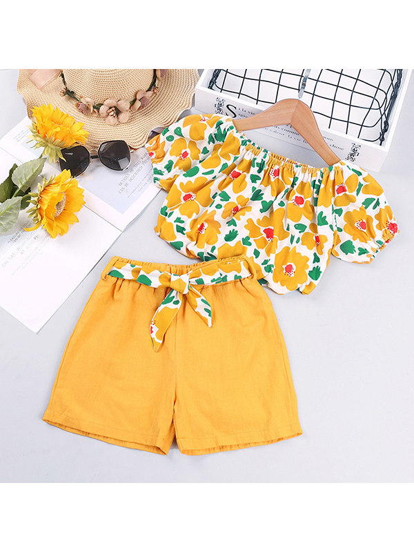【18M-7Y】Girls Flower One-shoulder Short-sleeved Top and Shorts Two-piece Suit