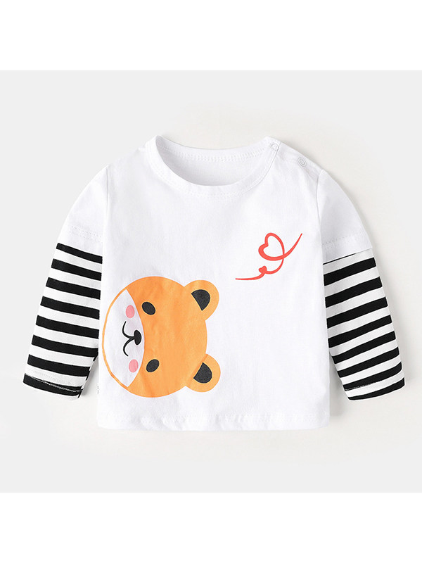 【6M-4Y】Boys' Round Neck Cartoon Print Long-sleeved T-shirt