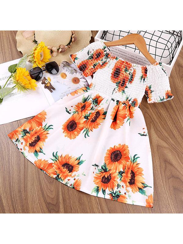 【18M-7Y】Girls Flower One-shoulder Short-sleeved Dress