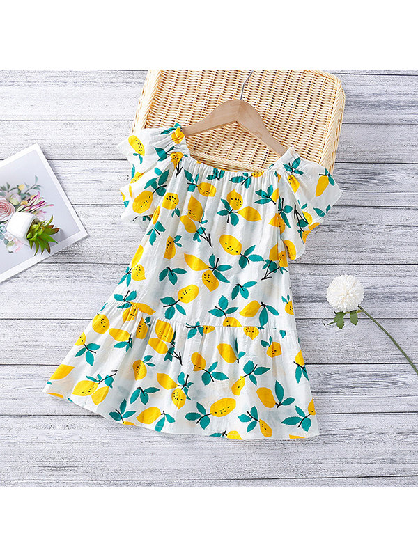 【18M-7Y】Girls Lemon Print Short Sleeve Dress