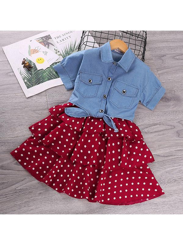 【3Y-13Y】Girls Short-sleeved Denim Shirt Polka Dot Suspender Skirt Suit